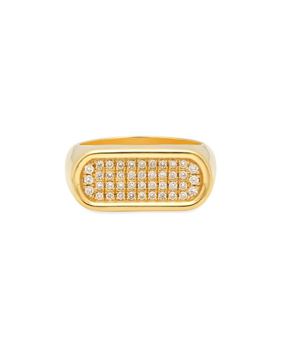 18k Gold 4-Row Diamond Stackable Ring  Size 7