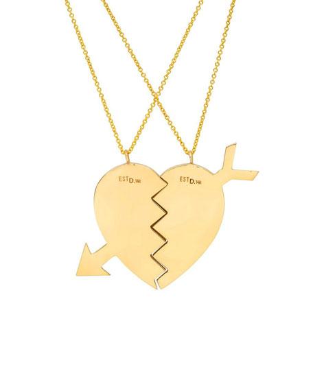14k Broken Heart Necklaces, Set of 2