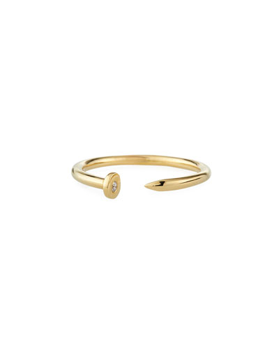 14k Yellow Gold Nail Ring w/ Diamond  Size 6.5