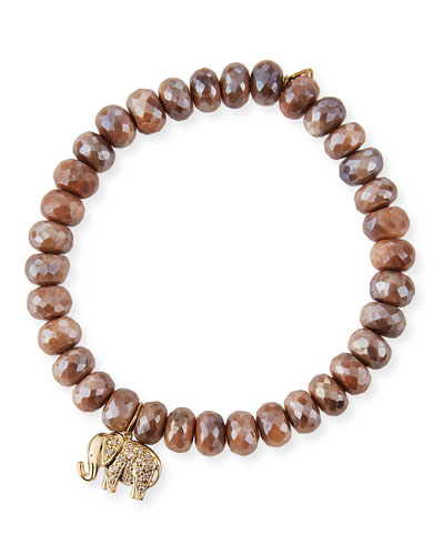 14k Diamond Elephant & Australian Moonstone Bracelet