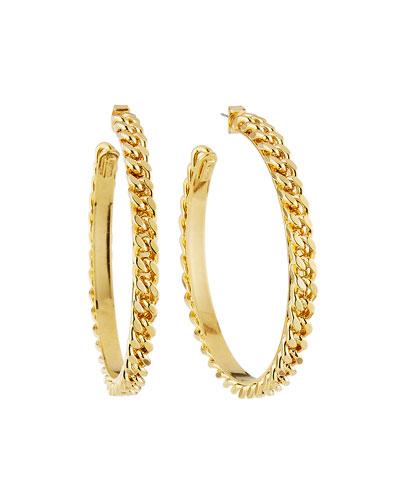 Medium Chain-Link Hoop Earrings