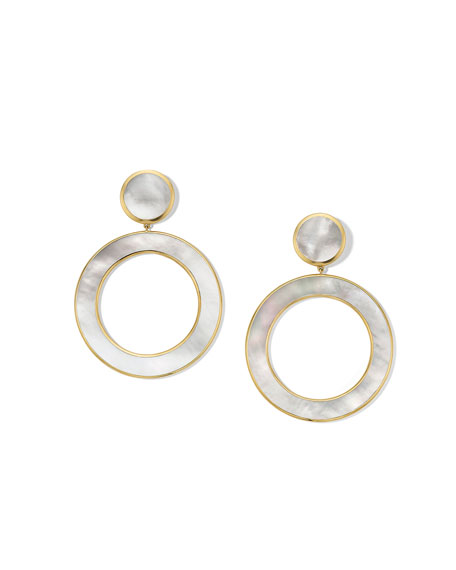 18K Polished Rock Candy Dot & Open Earrings in Mother-of-Pearl
