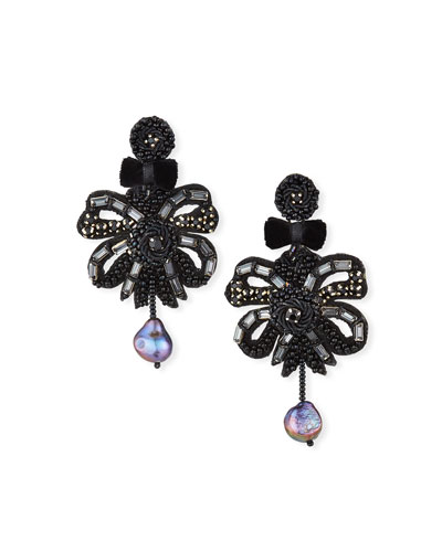 Clip-On Bow Dangle Earrings with Pearl