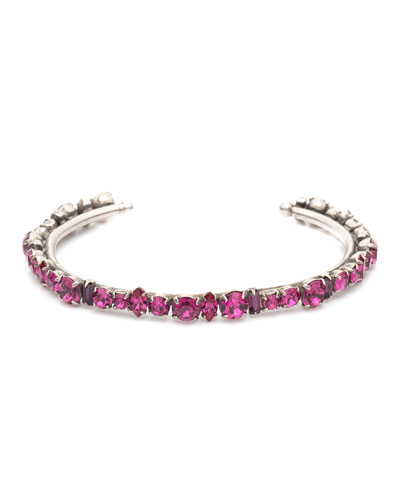 Cielo Crystal Cuff Bracelet  Fuchsia