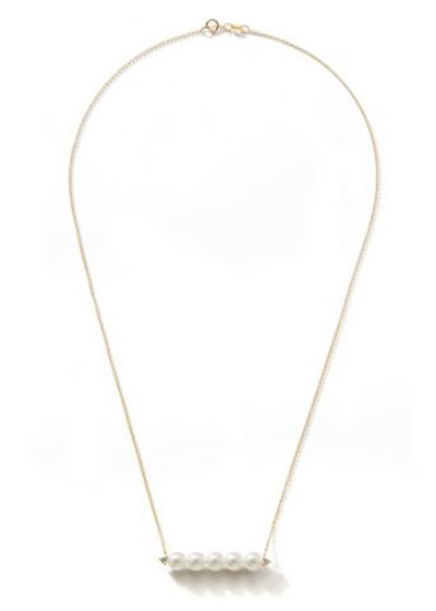 14k Gold 5-Pearl & Diamond Bar Necklace