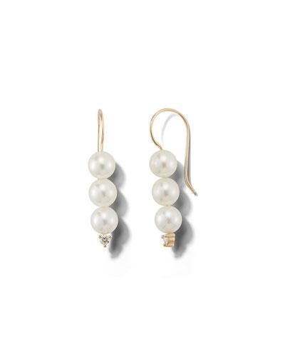 14k Triple-Pearl & Diamond Drop Earrings