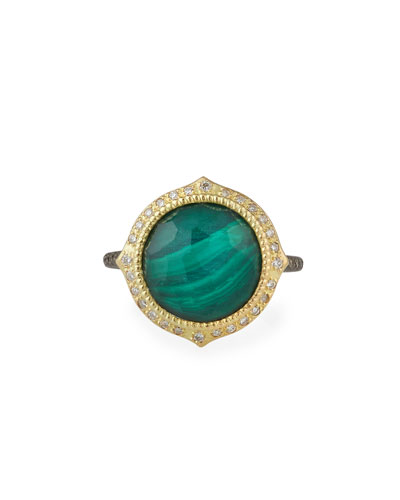 Old World Malachite/Topaz Doublet Ring w/ 18k Gold & Diamonds  Size 6.5
