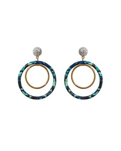 Pave Double-Hoop Drop Earrings