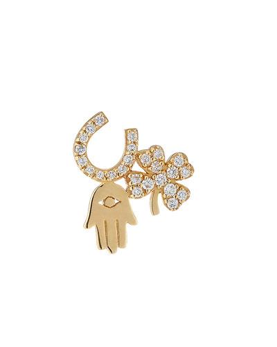14k Diamond Luck & Protection Stud Earring  Single