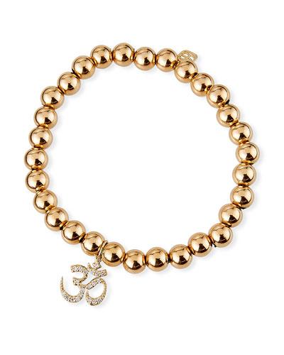 14k Gold Bead & Diamond OM Bracelet