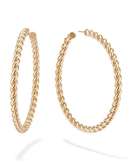 14k Braided Hollow Hoop Earrings