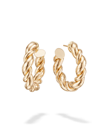 14k Wide Braided Hollow Hoop Earrings