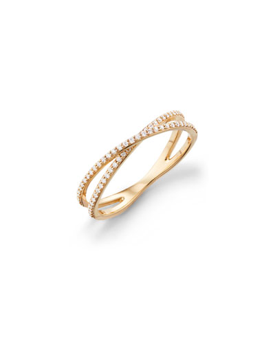 14k Skinny Crisscross Diamond Band Ring  Size 7