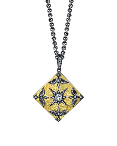 Medium Square Love Bird Locket Necklace