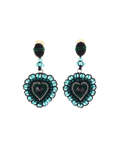 Embellished Runway Heart Clip Earrings
