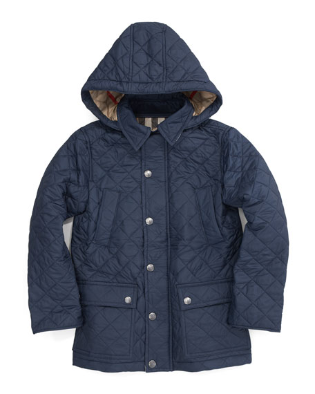Burberry Charlie Hooded Quilted Jacket Navy
