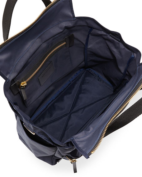 Leather-Trim Nylon Biker Babybag