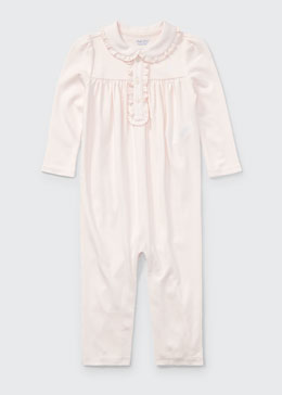 Ruffle-Trim Pima Jersey Coverall, Pink, Size 3-12 Months