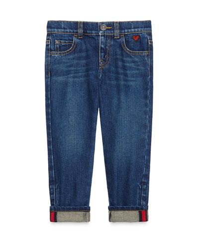 Medium Washed Skinny Jeans  Blue  Size 4-12