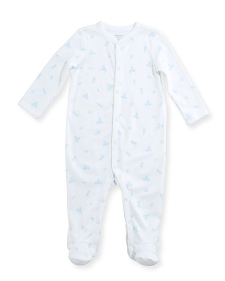 Tattersal Collared Footie Pajamas, Size Newborn-9 Months