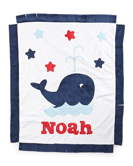 Personalized Whale Plush Blanket, White/Navy