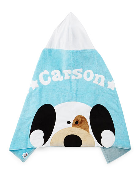 Personalized Peek-a-Boo Puppy Hooded Towel, Blue