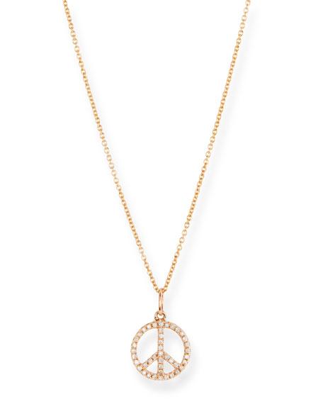 Kids' Diamond Mini Peace Sign Necklace