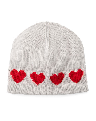 Virgin Wool Heart Intarsia Beanie Hat  Size 0-18 Months