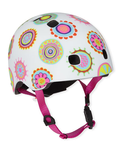 Girls' Floral Doodle Dot-Print Helmet  XS