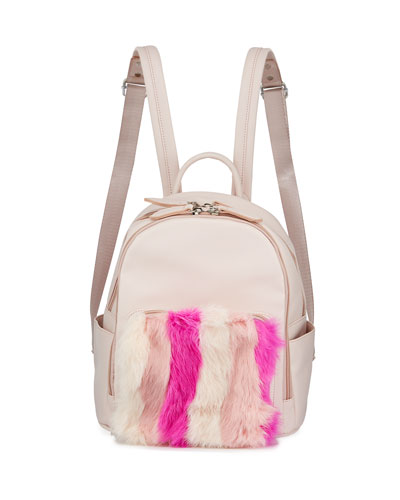 Kid's Faux Leather Fur Trim Backpack