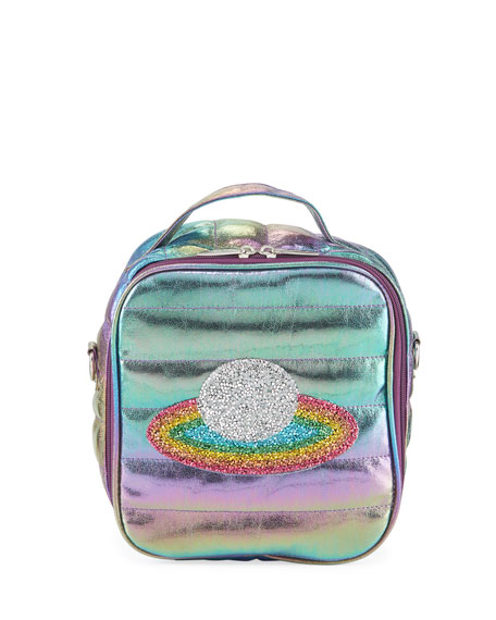 Image 1 of 1: Kid's Puffy Lunch Box w/ Rainbow Planet Crystal Patch
