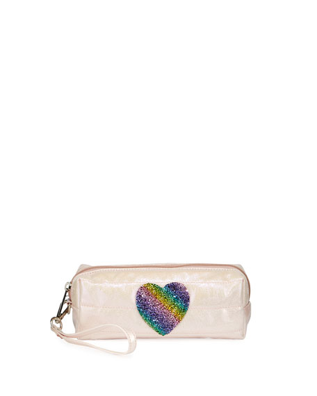 Image 1 of 1: Puffy Pencil Case with Rainbow Heart