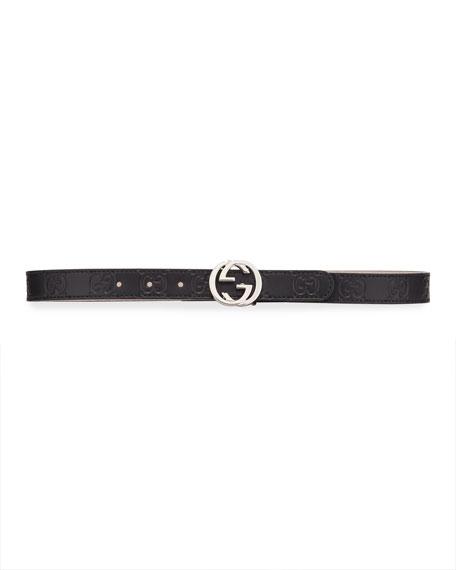 Kids' Signature Gucci Leather Belt