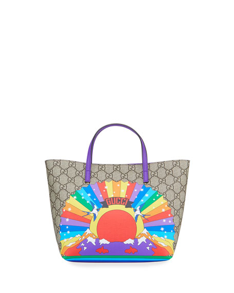Kids' Rainbow Print GG Supreme Tote Bag
