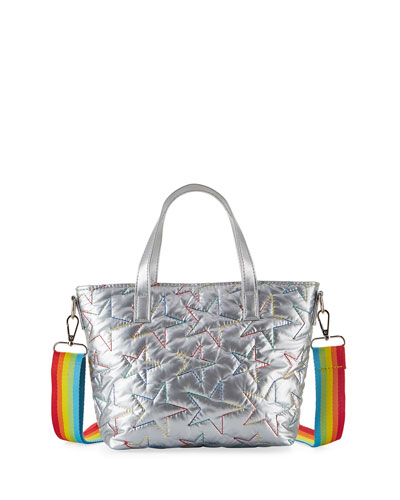 Girl's Metallic Star Embroidered Bag w/ Rainbow Strap