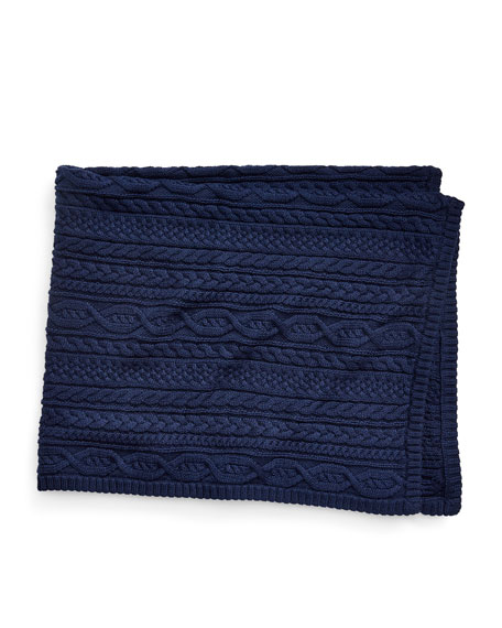 Cable-Knit Baby Blanket, Blue