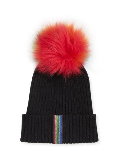 Ribbed Rainbow Lurex Taping Beanie Hat w/ Fur Pompom