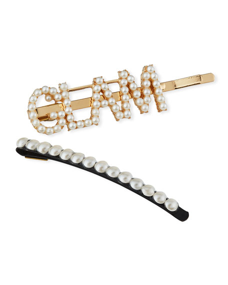 Girl's Glam Word Pearlescent Bobby Pin w/ Matching Bobby Pin