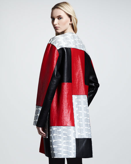 Bonded Snake/Leather Patchwork Coat