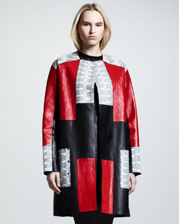 Proenza Schouler Bonded Snake/Leather Patchwork Coat