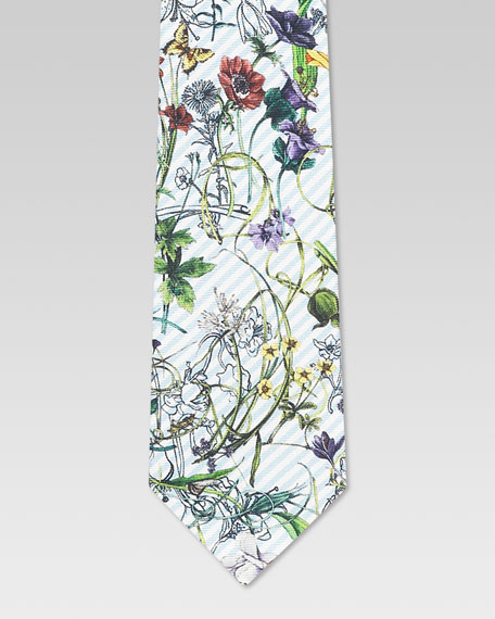 Boys' Eustatius Floral Print Silk Tie