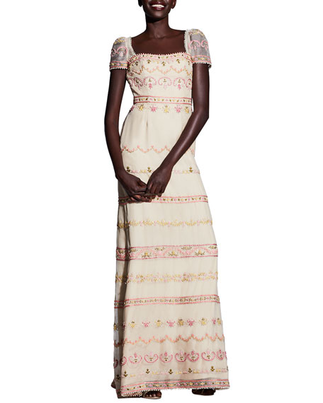 Alexandra Vidal Embroidered Georgette Cap-Sleeve Gown, Beige