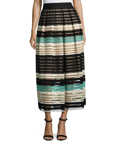 Striped Crochet A-Line Midi Skirt, Mint/Multi