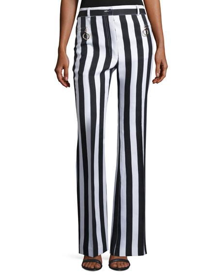Striped Sateen Wide-Leg Pants, White/Blue
