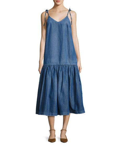Tie-Shoulder Denim Midi Dress, Blue
