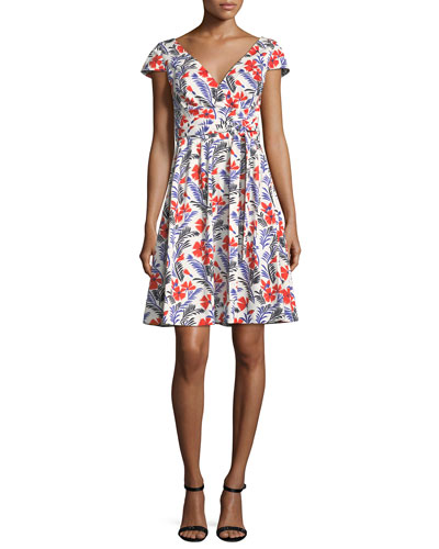 Poppy Cap-Sleeve Belted A-Line Dress, White