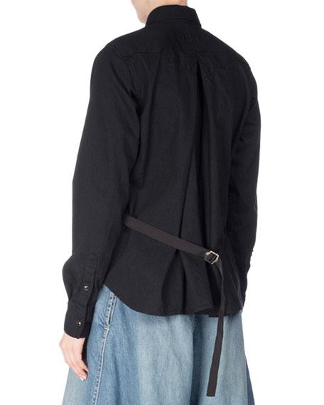 Long-Sleeve Denim Tie-Back Top