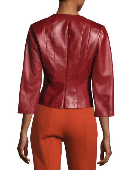Plongé Leather Split-Neck Top