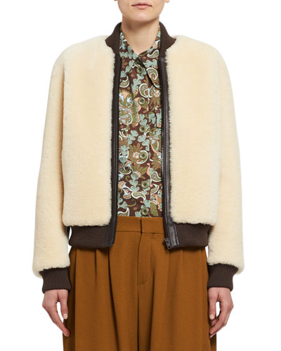 Teddy Bear Shearling Bomber Jacket