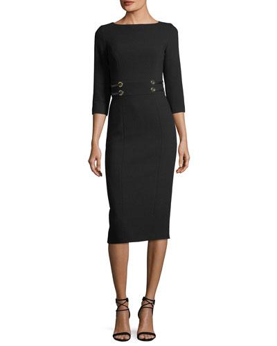 Leather-Trim Boucle Crepe Sheath Dress